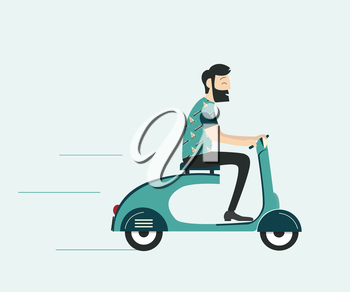 Royalty Free Clipart Image of a Man on a Scooter