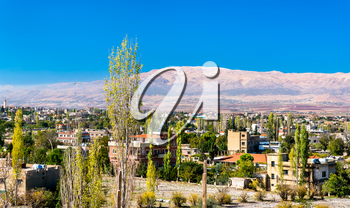 View of Baalbek town with mountains in the background - Lebanon, the Beqaa Valley