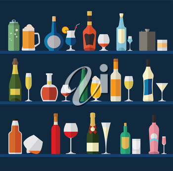 Alcohol glasses and bottles flat icon set. Different alcohol beverages. Vector illustration