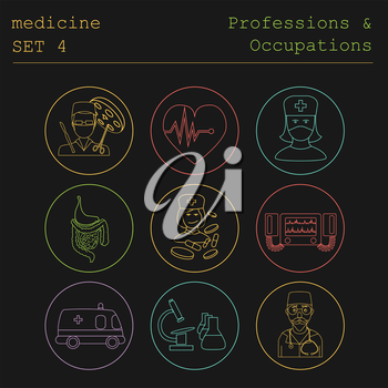 Professions and occupations outline icon set. Medical. Flat linear design. Vector illustration