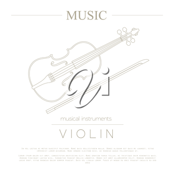 Musical instruments graphic template. Violin. Vector illustration