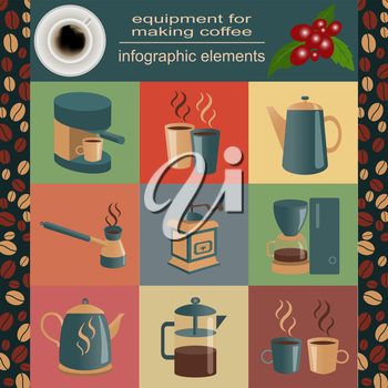 Equipment for making coffee, set infographics elements. Vector illustration