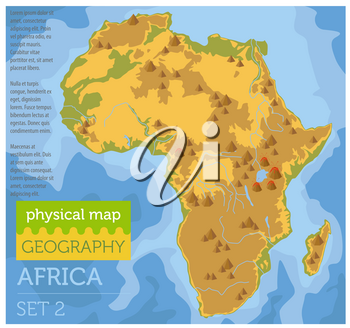 Flat Africa physical map constructor elements on the water surface. Build your own geography infographics collection. Vector illustration