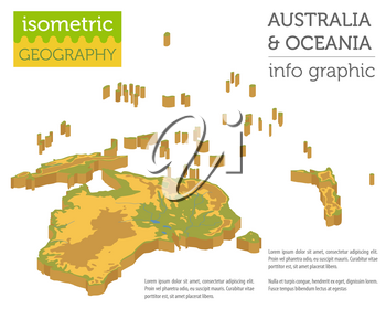 Isometric 3d Australia and Oceania physical map elements. Build your own geography info graphic collection. Vector illustration