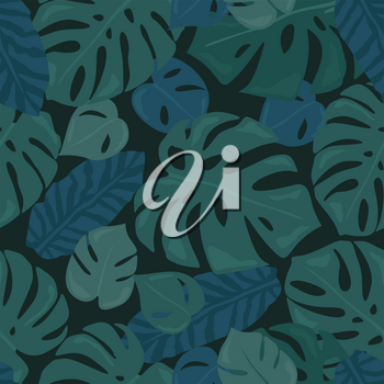 Monstera tropical forest leaves background. Green seamless pattern. Vector illustration