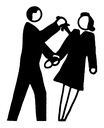 Royalty Free Clipart Image of a Man Stabbing a Woman