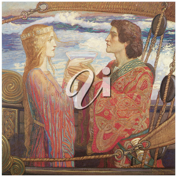 Royalty Free Clipart Image of Tristan and Isolde by John Duncan