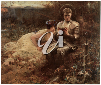 Royalty Free Clipart Image of The Temptation of Sir Percival by Arthur Hacker