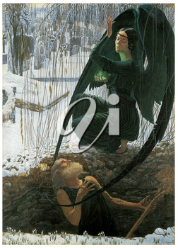 Royalty Free Clipart Image of The Grave Digger's Death by Carlos Schwabe