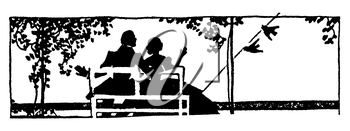 Royalty Free Silhouette Clipart Image of a Couple Sitting on a Bench With the Husbands Arm Around The Wife, While They Watch The Birds