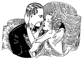 Royalty Free Clipart Image of a Couple About to Kiss