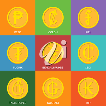 Flat Golden Coins. Currency Icons. Vector illustration.