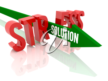 Arrow with word Solution breaks word Stress. Concept 3D illustration.