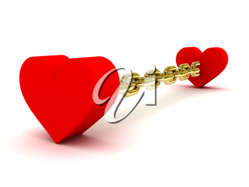Two hearts linked by long golden chain. Concept 3D illustration.