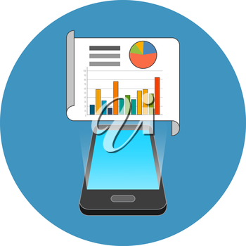 Smartphone data, infographic app concept. Isometric design. Icon in blue circle on white background.