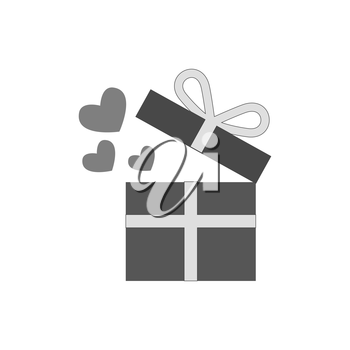 Open giftbox with hearts icon. Love present concept. Symbol in trendy flat style isolated on white background. Illustration element for your web site design, logo, app, UI.