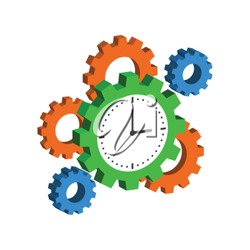 Clock with Cogwheels, Time Management symbol. Flat Isometric Icon or Logo. 3D Style Pictogram for Web Design, UI, Mobile App, Infographic. Vector Illustration on white background.