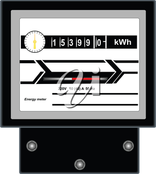 Illustration of energy meter on a white background
