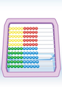 Illustration of multi-coloured children's abacus with a shade