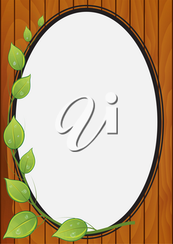 Illustration of a decorative frame for photos on a wooden background