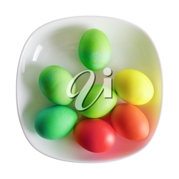 Colored Easter eggs on white plate. Isolated with clipping path on white background. Top view.