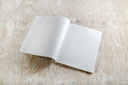 Photo of blank opened brochure magazine on light wooden background with soft shadows. Mock-up for graphic designers portfolios.