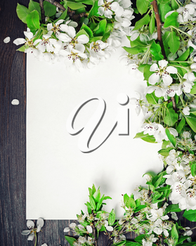 Blank paper poster and spring flowers on wooden background. Vertical shot. Flat lay.