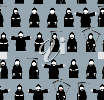 Grim Reaper  in black clothes seamless pattern. Background of Many deaths. Texture for  dreaded holiday Halloween. Fabric ornament.