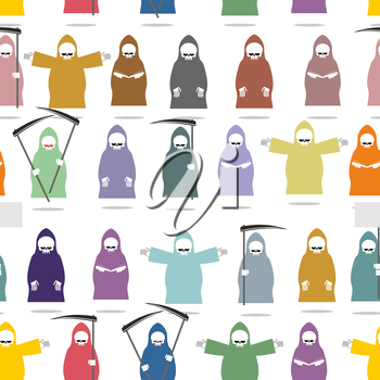 Funny death in bright robes seamless pattern. Texture of many  Grim Reaper . Endless Background for Halloween. Death of various postures: reads  book, holding  scythe, holds banner