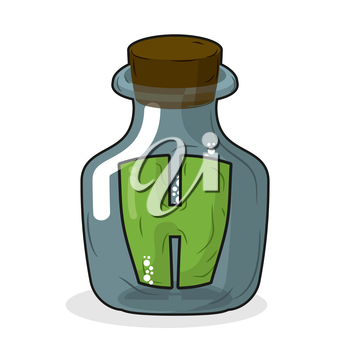H in laboratory bottle. Letter in magic pot with a wooden stopper. Letter H to scientific experiments. Stock beaker, flask