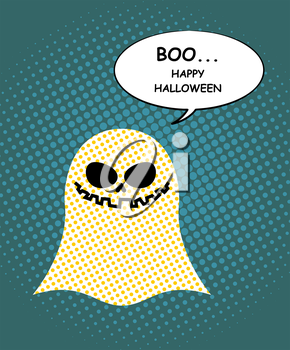 Boo Happy Halloween. Ghost of pop art and bubble. Pretty good ghost symbol of  dreaded holiday. Vector illustration.