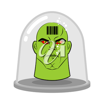Head of alien in glass jar for experiments. Green humanoid with red eyes. Research of  future. Lab exhibit. Fantastic vector illustration.