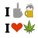 I hate alcohol, I like drugs. Fuck symbol of hatred and mug of beer. Heart and marijuana leaf. Emblem for fans to smoke weed
