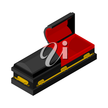 Open black coffin isometrics. Wooden casket for burial. Red hearse. Religious illustration