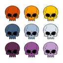 Skull set. Colored skull. Set of multi-colored head skeleton.