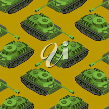 Tank Isometric seamless pattern. Army machinery texture. Armored fighting vehicles, tracked with gun and machine gun background
