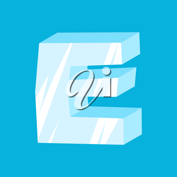 letter E ice font. Icicles alphabet. freeze lettering. Iceberg ABC sign