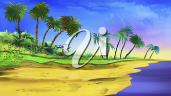 Digital painting of the tropical Beach with palms, grass and sand.