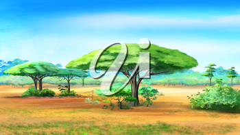 Digital painting of the Acacia Trees in African bush
