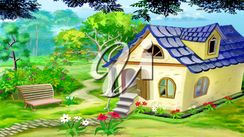 Digital painting of the Village Garden House in a summer day. Rural landscape.
