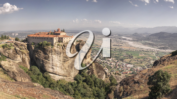 Panoramic view of the Varlaam Monastery in Meteora, Kalambaka town in Greece, on a sunny summer day