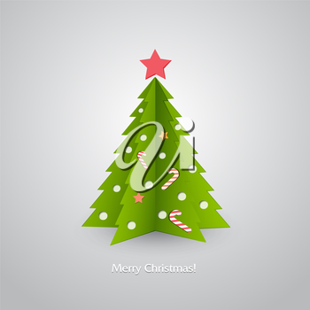 Vector illustration Christmas tree in red background. EPS 10