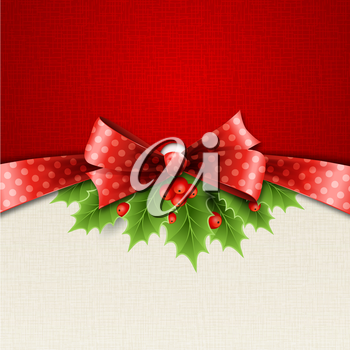 Vector illustration isolated realistic Christmas holly and red bow. EPS 10