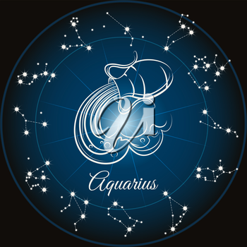 Zodiac sign aquarius and circle constellations. Vector illustration