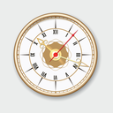 Retro wall clock. Round vector wall clock in vintage style