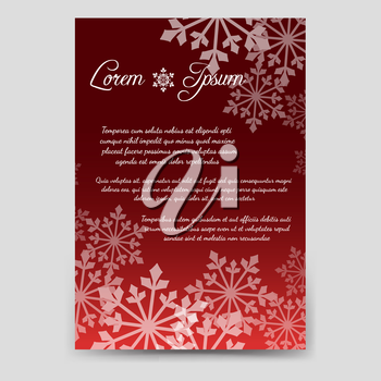 Winter brochure flyer template design in A6 size with snowflakes. Vector illustration