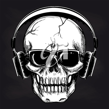 Black and white sketch of skull and headphones. Vector human skull music lover on blackboard