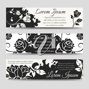 Horizontal banners template with splashes shape silhouettes and flowers. Vector illustration