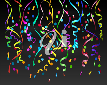 Swirl streamers. Festival party serpentine strings isolated on black background, vector falling paper streamers