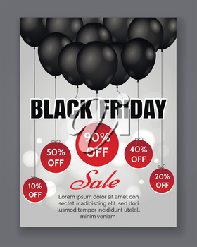 Black friday sale event poster. Season discount offer promotion background with black balloons and shiny lights. Vector illustration